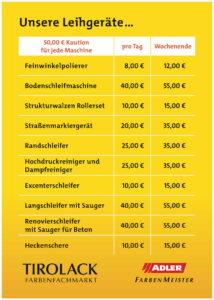 Leihgeräte Kosten Tirolack Schwaz